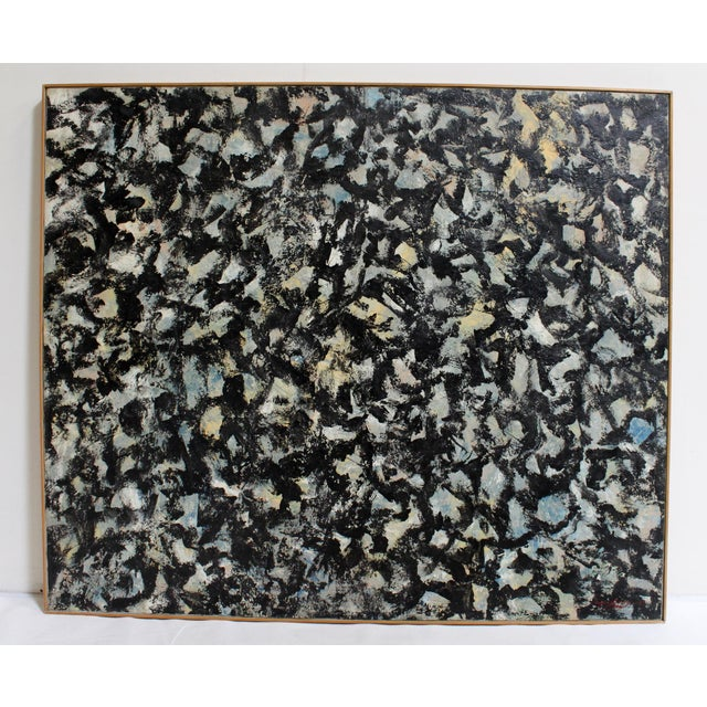 Large Abstract Expressionist Painting in Black and Green by Artist Jacques Lamy - Image 2 of 8