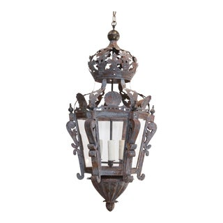 19th Century Painted French Pierced Tôle Lantern For Sale