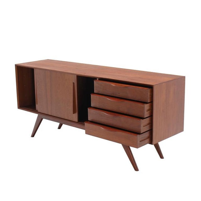 Mid 20th Century Danish Modern Four Drawers Splayed Legs Teak Sideboard For Sale - Image 5 of 8