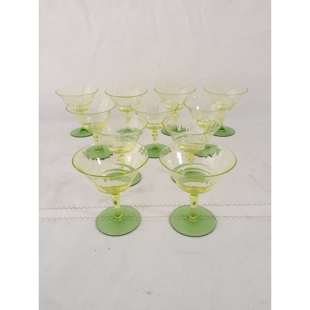 Green Vaseline Champagne Glasses - Set of 11 For Sale In New York - Image 6 of 6