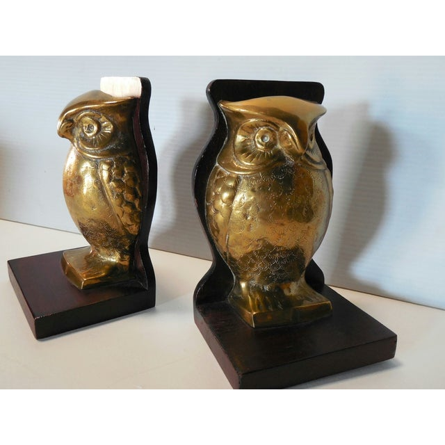 Mid-Century Brass and Rosewood Owl Bookends - Pair For Sale - Image 4 of 7