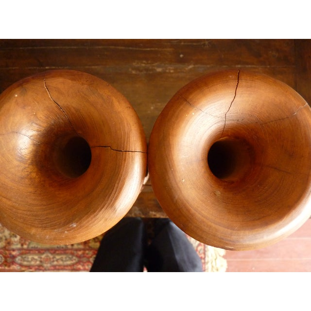 Boho Chic Large Carved Wood Candle Vases - a Pair For Sale - Image 3 of 7