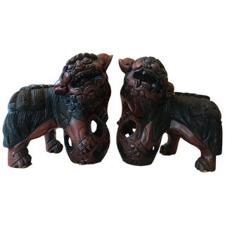 Carved Wood and Lacquered Foo Dogs - a Pair For Sale