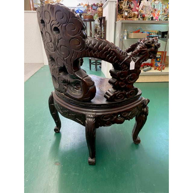 Vintage Carved Rosewood Oriental Dragon Chairs - a Pair For Sale In Miami - Image 6 of 12