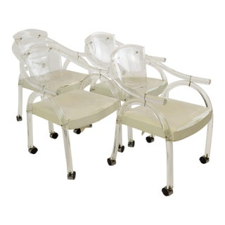 Charles Hollis Jones Style Mid-Century Modern Lucite Rolling Chairs - Set of 4 For Sale