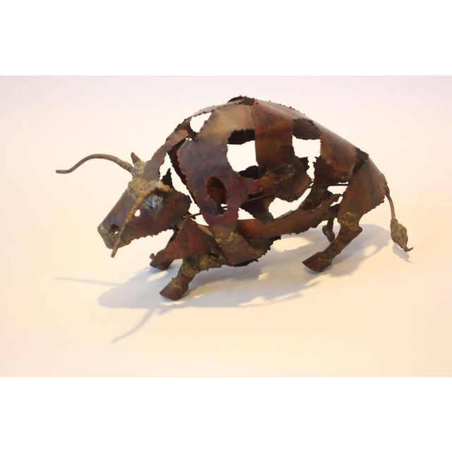 Torch-Cut Mixed Metal 'Bull' Sculpture - Image 7 of 11