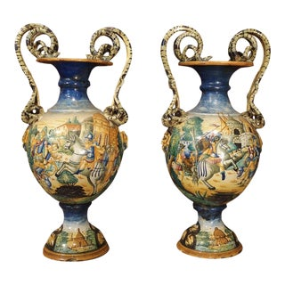 Pair of 19th Century Italian Majolica Urns For Sale