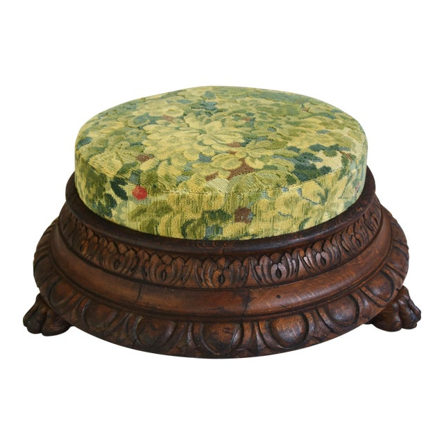 Early Carved 1900s Foot Stool w/ Scalamandre Marly Velvet Fabric For Sale