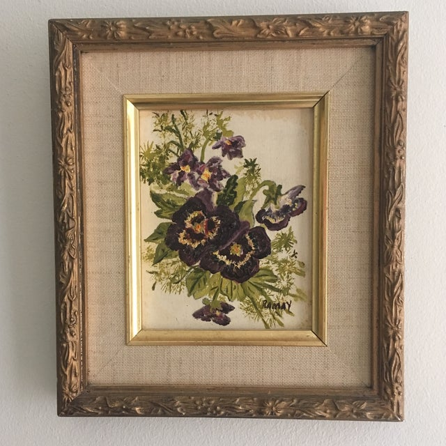 Vintage Floral Oil Painting - Image 6 of 6