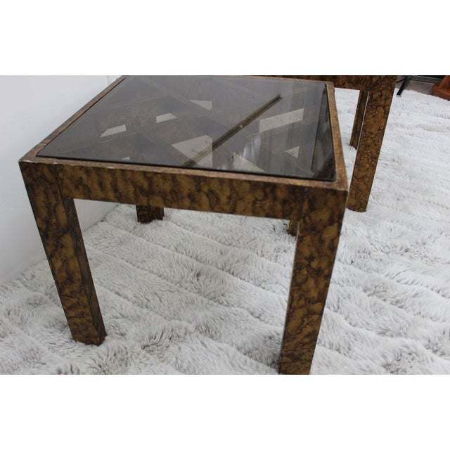 Gold Mid Century Modern pair of end tables with glass tops For Sale - Image 8 of 10