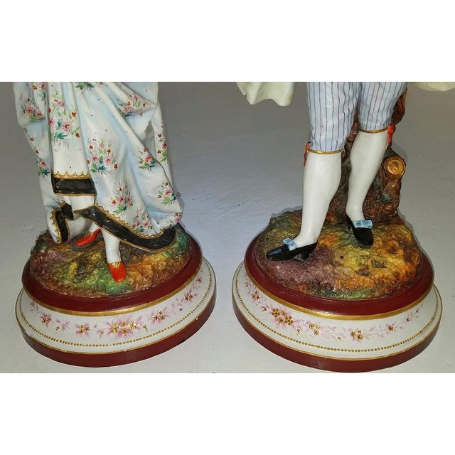 Pair of 18c French Old Paris Porcelain Figurines- A Pair For Sale - Image 10 of 13