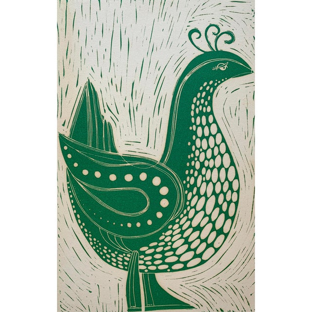 Vintage Stylized Bird Lithograph For Sale