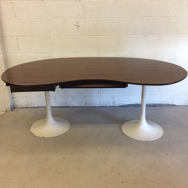 1980s Mid Century Writing Executive Desk With Tulip Base For Sale - Image 5 of 12
