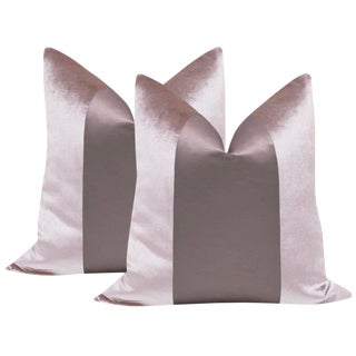 "Smokey Lavender Velvet & Silk Panel 22"" Pillows - a Pair"