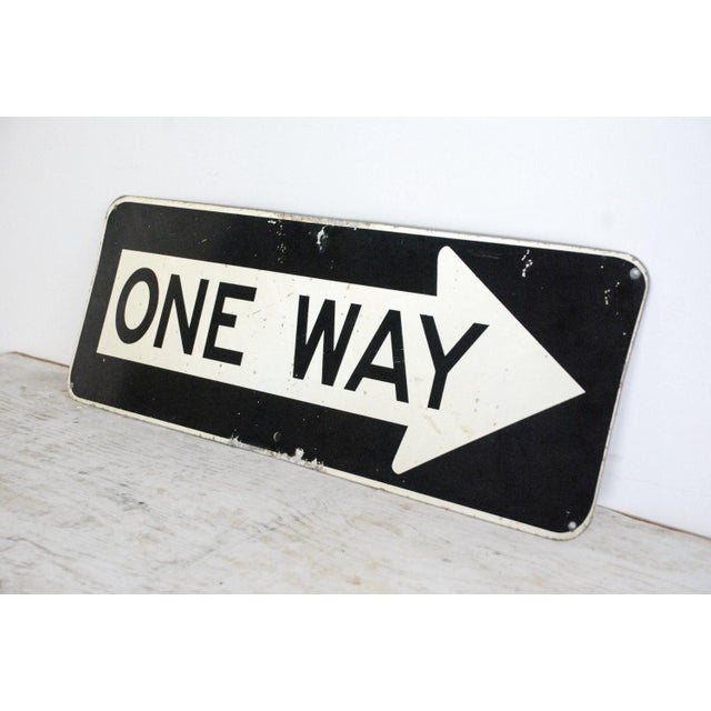 "Vintage Metal One Way 36"" Traffic Road Sign - Image 4 of 6"