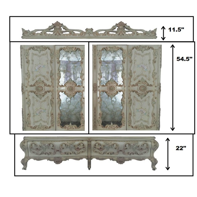 Cream Large Rare Romantic Antique Cream French Rococo Ornate Armoire Fancy Wardrobe W/ Mirrors For Sale - Image 8 of 9