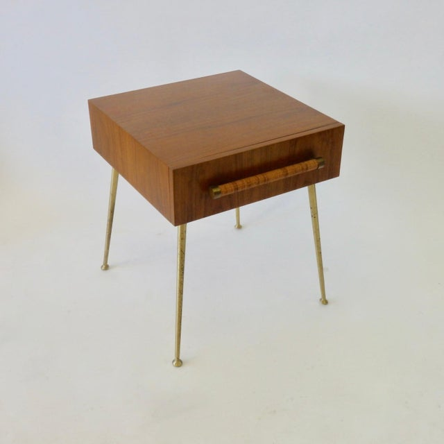 Brown Robsjohn Gibbings Widdicomb Nightstand Side Table with Raffia Cane Covered Pull For Sale - Image 8 of 9