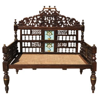 Anglo Indian Rosewood Caned Bench For Sale