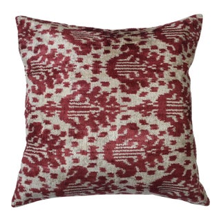 Contemporary Silk Velvet Ikat Pillow Cover For Sale