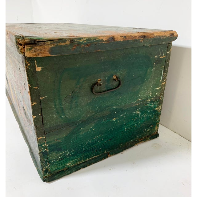 19th C. Eastern European Antique Folk Art Painted Chest For Sale - Image 11 of 13