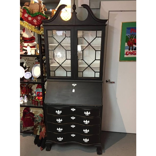 1950s Traditional Black Secretary Desk with China Cabinet Hutch For Sale - Image 10 of 10