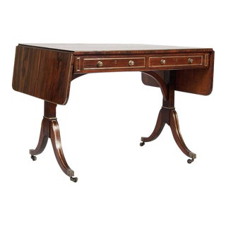 Regency Rosewood and Brass-Mounted Sofa Table For Sale