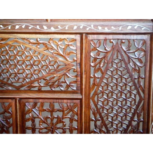 Brown Carved & Inlayed Rosewood Screen For Sale - Image 8 of 11