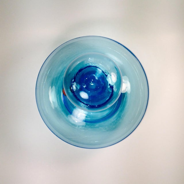 Italian Hand Blown Blue Glass Decanter - Image 3 of 5