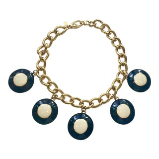 Escada Enameled Disc Necklace For Sale