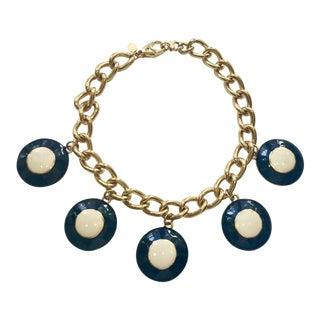 Escada Enameled Disc Necklace For Sale