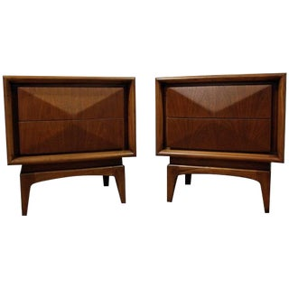 Pair of Mid-Century Danish Modern Walnut 3d Diamond Front Nightstands #26