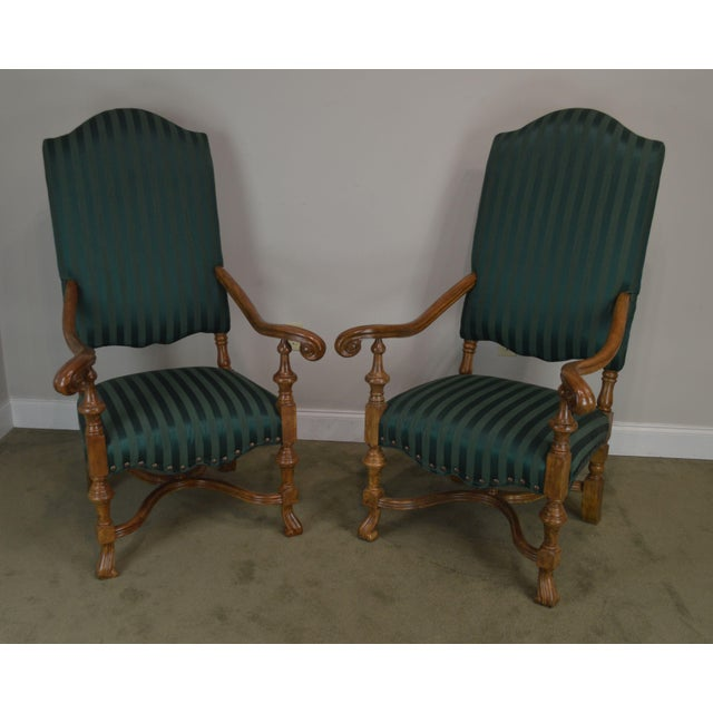 High Quality Custom Faux Painted and Upholstered Pair of Baroque Style Armchairs