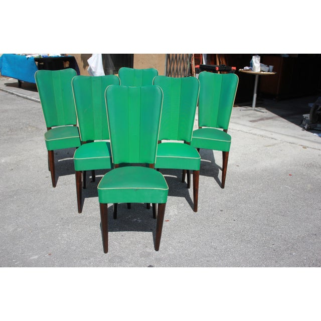 Monumental Set OF 6 French Art Deco Solid Mahogany Dining Chairs By Jules Leleu Circa 1940s - Image 12 of 13