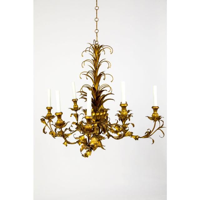 Hollywood Regency Gilt Palm Leaf Regency Chandeliers (2 Available) For Sale - Image 3 of 13