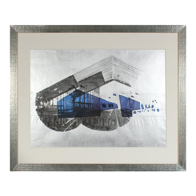 """1970's """"Libson Station"""" Graphic Serigraph on Silver Paper For Sale"""