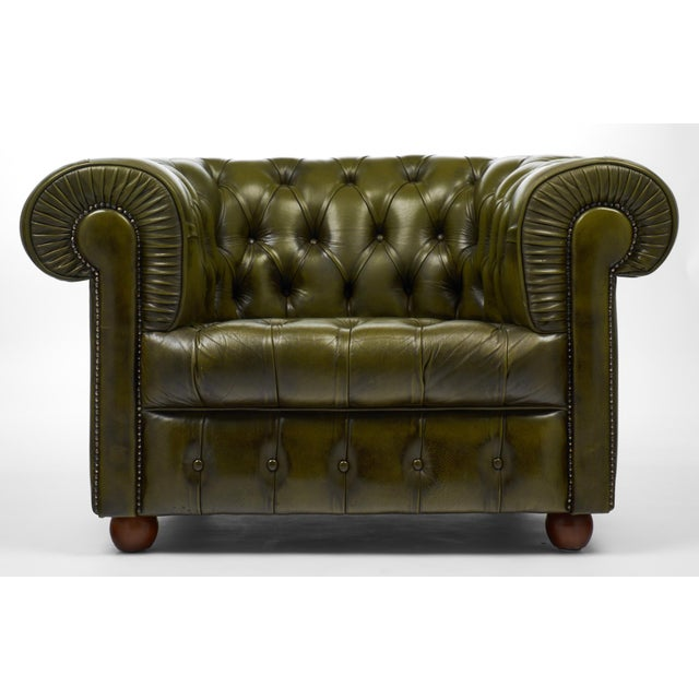 Vintage Chesterfield Green Leather Club Chair For Sale - Image 4 of 11