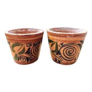 Vintage Mid Century Hand-Painted Terracotta Planter Pots- A Pair For Sale