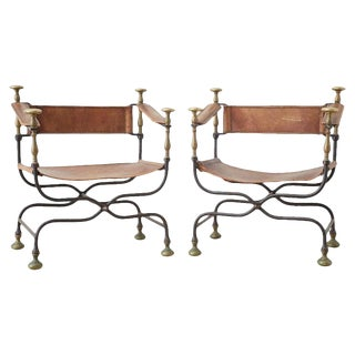 Pair of 19th Century Italian Iron Savonarola Dante Chairs For Sale