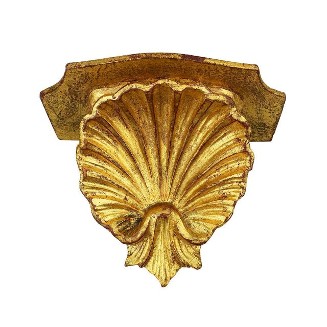 Mid 20th Century 20th Century Italian Gilt Gold Carved Wood Grotto Style Shell Shelf For Sale - Image 5 of 5