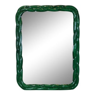Italian Faux-Malachite Wall Mirror For Sale