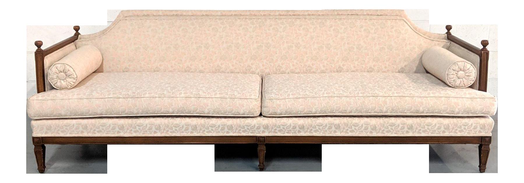 1970s French Country Pink Brocade Walnut Trim Sofa