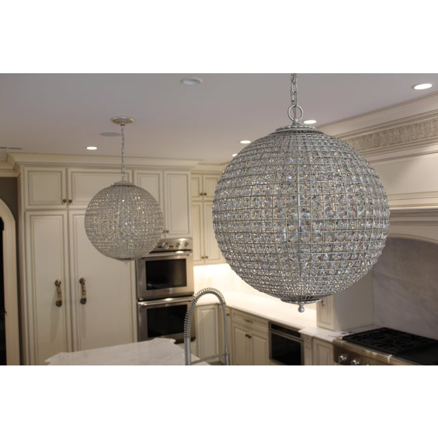 This listing includes two fixtures. Amazing set of pendants with faceted crystals that sparkle and shine with a classic...