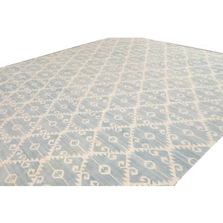 21st Century Contemporary Blue and Ivory Kilim Rug Preview