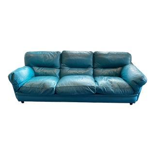 1980s Poltrona Frau Blue Sofa For Sale
