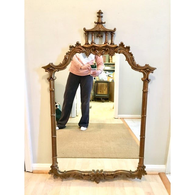 Vintage LaBarge Style Chinoiserie Chippendale Pagoda Bell Mirror For Sale - Image 11 of 11