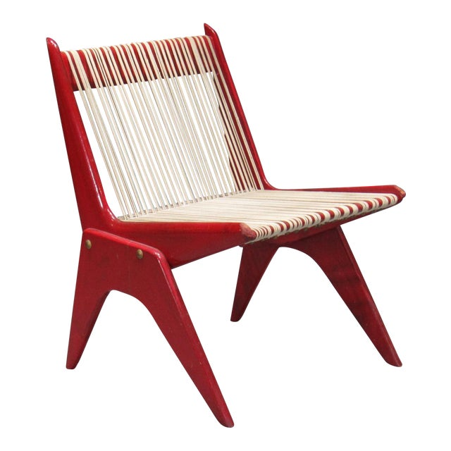 1950's Mid Century Modern Red Painted Wood and Rope Scissor Chair For Sale