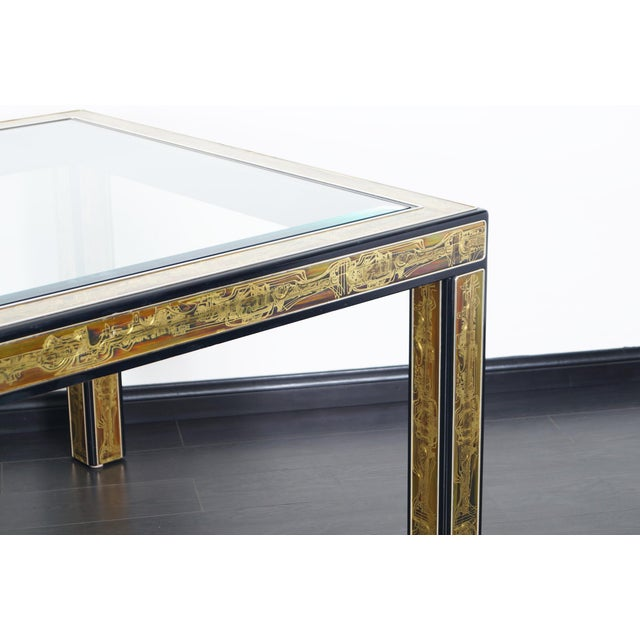 Mastercraft Vintage Etched Brass Dining Table by Mastercraft For Sale - Image 4 of 9