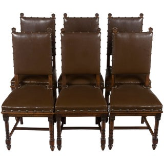 1900s Vintage Carved French Leather Dining Room Chairs- Set of 6 For Sale
