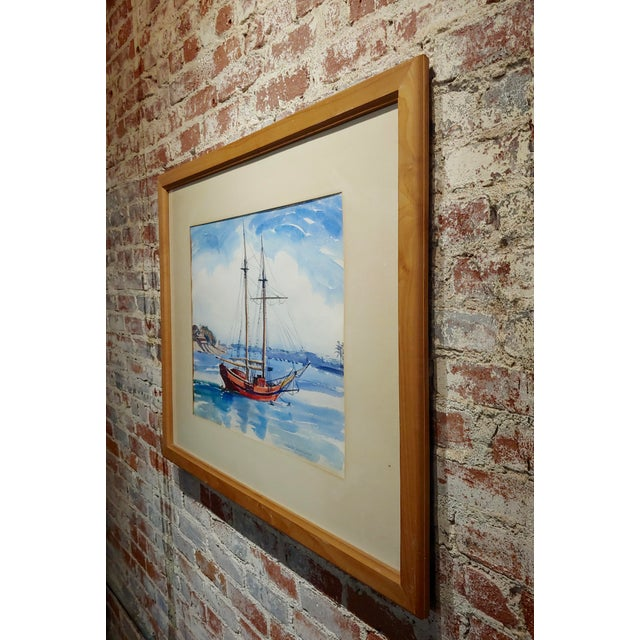 Virgene Hawthorne - Red Sail Boat Resting at Bay - 1950s Painting For Sale In Los Angeles - Image 6 of 9