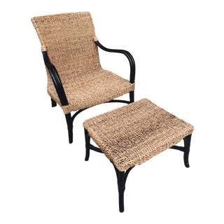 Rattan Lounge Chair and Ottoman For Sale